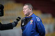 Andy Leese (Chesham), manager of Chesham talks to the BBC after the game during the The FA Cup match between Bradford City and Chesham FC at the Coral Windows Stadium, Bradford, England on 6 December 2015. Photo by Mark P Doherty.