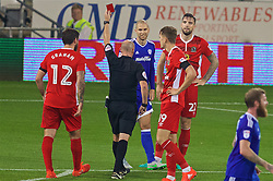 CARDIFF, WALES - Wednesday, August 17, 2016: Blackburn Rovers' Shane Duffy [Red 22] is shown a red card and sent off during the Football League Championship match against Blackburn Rovers at Cardiff City Stadium. (Pic by David Rawcliffe/Propaganda)