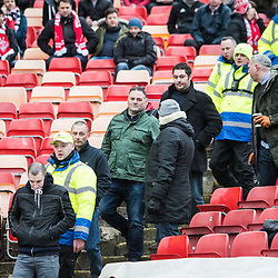Aberdeen v Celtic, SPrem, 25th February 2018<br /> <br /> Aberdeen v Celtic, SPrem, 25th February 2018 &copy; Scott Cameron Baxter | SportPix.org.uk<br /> <br /> Celtic fans are ejected from the Aberdeen end.