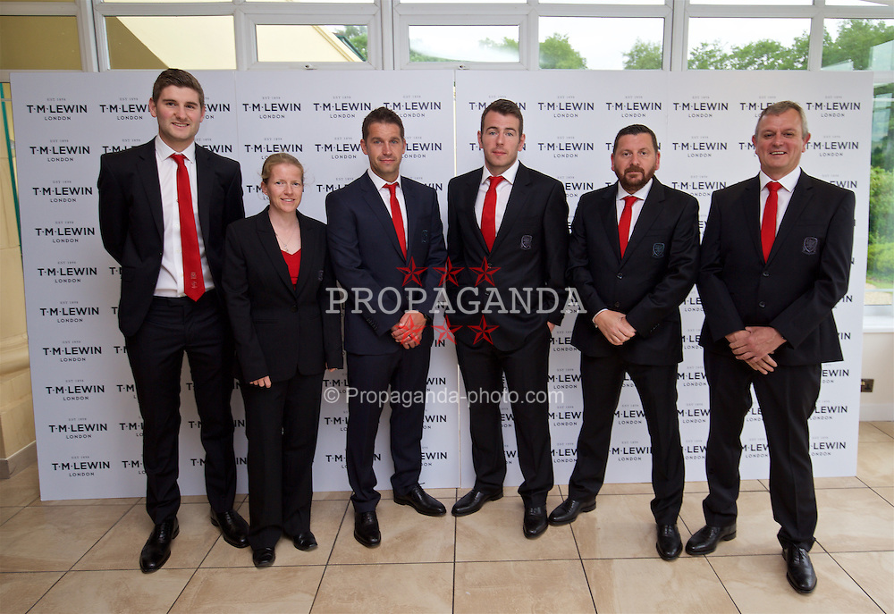CARDIFF, WALES - Wednesday, June 1, 2016: Wales' James Turner, performance analyst Esther Laugharne, sports science coach Adam Owen, Ronan Kavanagh, equipment manager David Griffiths, Kevin McCusker wearing T.M. Lewin suits before a charity send-off gala dinner at the Vale Resort Hotel ahead of the UEFA Euro 2016. (Pic by David Rawcliffe/Propaganda)
