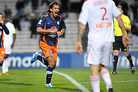 FOOTBALL - FRENCH LEAGUE CUP 2010/2011 - 1/4 FINAL - MONTPELLIER HSC v LILLE OSC - 10/11/2010 - PHOTO SYLVAIN THOMAS / DPPI - JOY HASAN KABZE (MON) AFTER HIS GOAL