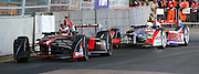 Sam Bird was trailing Stephane Sarrazin but ended up with the win after Stephane Sarrazin used up all his energy and was given a drive through penalty during the FIA Formula E Visa London ePrix  at Battersea Park, London, United Kingdom on 28 June 2015. Photo by Matthew Redman.