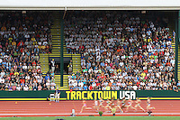 Fans look on during the semi-finals of the womens 1500m during day 8 of the U.S. Olympic Trials for Track & Field at Hayward Field in Eugene, Oregon, USA 29 Jun 2012..(Jed Jacobsohn/for The New York Times)....