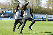 Street dancers during the Vanarama National League match between Forest Green Rovers and North Ferriby United at the New Lawn, Forest Green, United Kingdom on 1 April 2017. Photo by Alan Franklin.