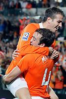 nederland - ijsland 11-10-2008<br /> <br /> joris marthijsen maakt de 1 - 0 en wordt besprongen door vd vaart