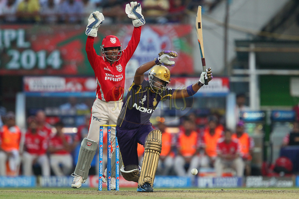 Wriddhiman Saha of the Kings X1 Punjab appeals for the wicket of Suryakumar Yadav of the Kolkata Knight Riders during the first qualifier match (QF1) of the Pepsi Indian Premier League Season 2014 between the Kings XI Punjab and the Kolkata Knight Riders held at the Eden Gardens Cricket Stadium, Kolkata, India on the 28th May  2014<br /> <br /> Photo by Ron Gaunt / IPL / SPORTZPICS<br /> <br /> <br /> <br /> Image use subject to terms and conditions which can be found here:  http://sportzpics.photoshelter.com/gallery/Pepsi-IPL-Image-terms-and-conditions/G00004VW1IVJ.gB0/C0000TScjhBM6ikg