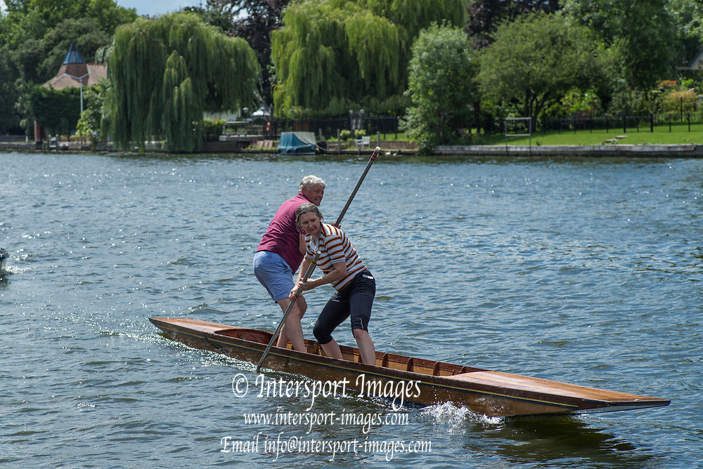 """Maidenhead, United Kingdom.  """"Mixed Double"""", """"Thames Punting Club Regatta"""", Bray Reach.<br /> 13:13:38 Sunday  06/08/2017<br /> <br /> [Mandatory Credit. Peter SPURRIER Intersport Images}.<br /> <br /> LEICA M (Typ 262) mm  f5.6   1/500 /sec    100 ISO River Thames, .......... Summer, Sport, Sunny, Bright, Blue Skies, Skilful,"""