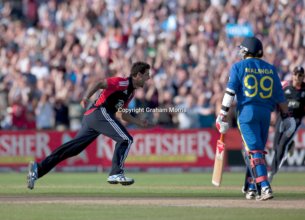 Jade Dernbach celebrates bowling Lasith Malinga to win the fifth and final one day international (and the series) between England and Sri Lanka at Old Trafford, Manchester. Photo: Graham Morris (Tel: +44(0)20 8969 4192 Email: sales@cricketpix.com) 06/07/11