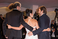 Director Fernando Leon de Aranoa , Spanish actor Javier Bardem and Spanish actress Penelope Cruz attend the premiere of the movie 'Loving Pablo' presented out of competition at the 74th Venice Film Festival on September 6, 2017 at Venice Lido. 06 Sep 2017 Pictured: Fernando Leon de Aranoa, Penelope Cruz,Javier Bardem. Photo credit: Fernanda Bareggi / MEGA TheMegaAgency.com +1 888 505 6342