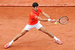 May 30, 2019 - Paris, France - An outstretched Novak Djokovic (SRB) during the French Open Tennis at Stade Roland-Garros, Paris on Thursday 30th May 2019. (Credit Image: © Mi News/NurPhoto via ZUMA Press)