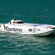 Maritimo 1, idles to the start, Inboard Engine Class, in the Offshore Superboat Championships Coffs Harbour, New South Wales, Australia