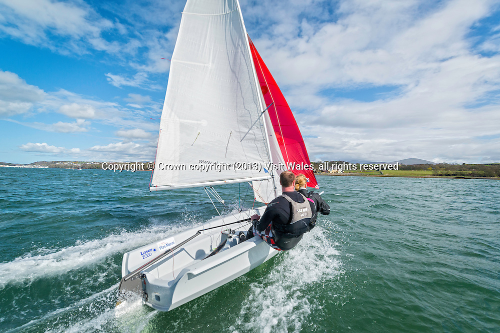Sailing on Menai Strait<br /> Plas Menai<br /> Gwynedd<br /> North<br /> Water Sports<br /> Activities and Sports