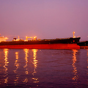 Two tankers at the terminal in Portland Harbor at night