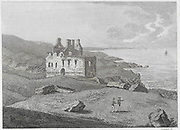 Engraving of Scottish landscapes and buildings from late eighteenth century,  Dunskey castle, Wigtownshire, Scotland, 1789 , drawn by S Hooper
