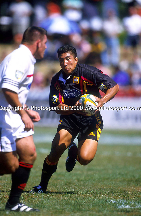 Loki Crichton of the Chiefs in action against Canterbury, Super 12 Rugby, 27 February 2000 at Waikato Stadium, Hamilton, New Zealand.<br /> Photo: Andrew Cornaga/Photosport.co.nz