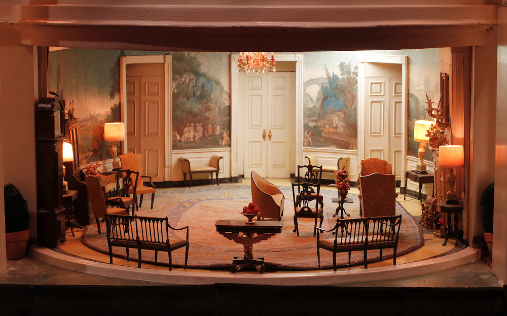 A scale model of the real White House is on display at the Reagan Library in Simi Valley, California. This is the Diplomatic Room and features exact replicas of the rugs found in the real White House.