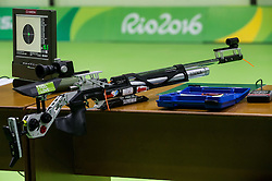 Gun of Veselka Pevec of Slovenia during Qualification of R4 - Mixed 10m Air Rifle Standing SH2 on day 3 during the Rio 2016 Summer Paralympics Games on September 10, 2016 in Olympic Shooting Centre, Rio de Janeiro, Brazil. Photo by Vid Ponikvar / Sportida