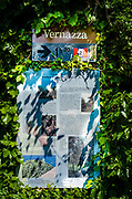 Interpretive sign on the Sentiero Azzurro (Blue Trail) near Vernazza, Cinque Terre, Liguria, Italy
