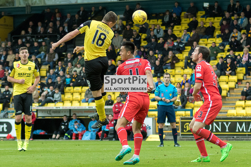 Livingston's Jordan sherif rises above St. Mirren's Cameron Howieson to get a header on goal in the Livingston vs St. Mirren Scottish Championship 17th October 2015......(c) MARK INGRAM | SportPix.org.uk