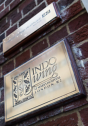 The recently polished brass plate at the Lindo Wing at St Mary's Hospital in Paddington, London, where the Duchess of Cambridge is expected within the next few weeks for the birth of her third child.. London, April 10 2018.