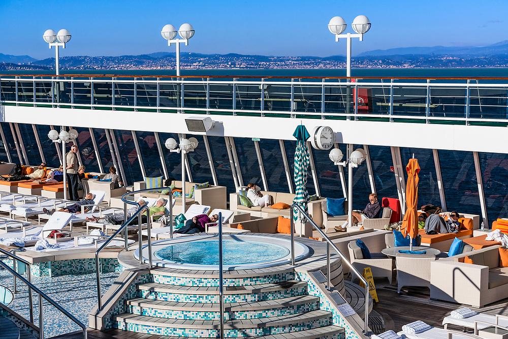 Cruise ship pool deck.