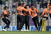 Amelia Kerr and Southern Vipers celebrate the wicket of Beth Mooney during the Women's Cricket Super League match between Southern Vipers and Yorkshire Diamonds at the Ageas Bowl, Southampton, United Kingdom on 8 August 2018.
