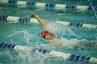 Laconia's Eric Phelps takes a sixth place finish during the 100 Yard Backstroke at the NHIAA Division II State Championships at Swasey Pool/UNH on Saturday.  (Karen Bobotas/for the Laconia Daily Sun)
