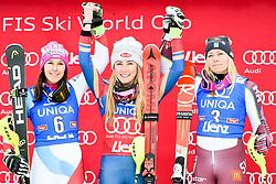 28.12.2017, Hochstein, Lienz, AUT, FIS Weltcup Ski Alpin, Lienz, Slalom, Damen, Flower Zeremonie, im Bild (v.l.) Wendy Holdener (SUI, 2. Platz), Siegerin Mikaela Shiffrin (USA) und Frida Hansdotter (SWE, 3. Platz) // f.l.t.r. second placed Wendy Holdener of Switzerland winner Mikaela Shiffrin of the USA third places Frida Hansdotter of Sweden during the Flowers ceremony for the ladie's Slalom of FIS Ski Alpine World Cup at the Hochstein in Lienz, Austria on 2017/12/28. EXPA Pictures © 2017, PhotoCredit: EXPA/ Michael Gruber