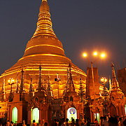 A view of the Shwedagon Pagoda at night. This is Rangoon/Yangon's most important and famous religious site.