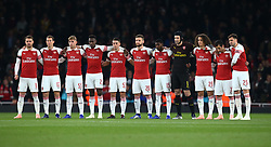October 31, 2018 - London, England, United Kingdom - London, UK, 31 October, 2018.Arsenal players observe a minutes silence for The Leicester owner Vichai Srivaddhanaprabha.L-R Aaron Ramsey, Stephan Lichtsteiner, Emile Smith Rowe, Danny Welbeck, Julio Pleguezuelo, Shkodran Mustafi, Ainsley Maitland-Niles, Petr Cech, Matteo Guendouzi, Henrikh Mkhitaryan and Carl Jenkinson of Arsenal.During Carabao Cup fourth Round between Arsenal and Blackpool at Emirates stadium , London, England on 31 Oct 2018. (Credit Image: © Action Foto Sport/NurPhoto via ZUMA Press)