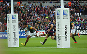 South Africa's Lodewyk De Jager scoring the first try during the Rugby World Cup Pool B match between South Africa and USA at the Queen Elizabeth II Olympic Park, London, United Kingdom on 7 October 2015. Photo by Matthew Redman.