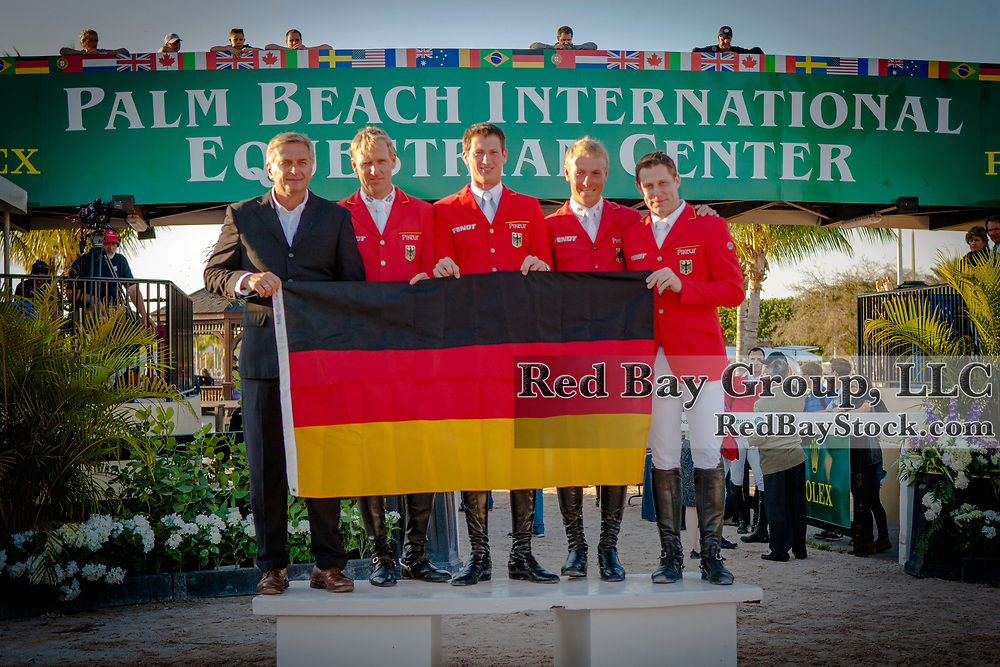 German Team at the 2014 Furusiyya FEI Nations Cup held during the Winter Equestrian Festival in Wellington, Florida.