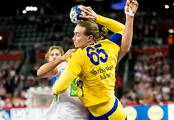 Lukas Nilsson of Sweden during handball match between National teams of Sweden and Norway on Day 7 in Main Round of Men's EHF EURO 2018, on January 24, 2018 in Arena Zagreb, Zagreb, Croatia.  Photo by Vid Ponikvar / Sportida