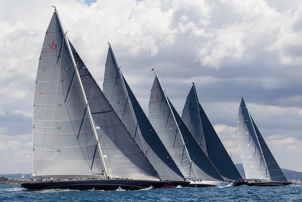 SPAIN, Palma. 22nd June 2013. Superyacht Cup. Race Four, Coastal Race. Start. L-R, Velsheda, Rainbow, Ranger, Lionheart, Hanuman.