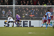 Paddy Madden of Scunthorpe United scores to go 2-0 uo  during the Sky Bet League 1 match between Scunthorpe United and Colchester United at Glanford Park, Scunthorpe, England on 23 January 2016. Photo by Ian Lyall.