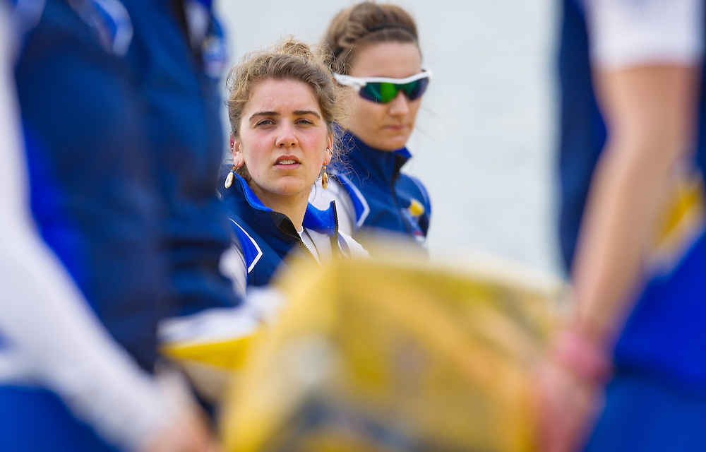 The University of British Columbia UBC varsity Women's rowing crew beat the University of Victoria Uvic women's varsity rowing crew in the 2014 Brown Cup challenge duel race held along the Gorge Waterway in Victoria British Columbia Canada. Photograph by: KEVIN LIGHT.