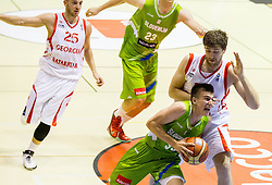Matic Rebec of Slovenia vs George Sharabidze of Georgia during friendly basketball match between National teams of Slovenia and Georgia in day 2 of Adecco Cup 2014, on July 25, 2014 in Dvorana OS 1, Murska Sobota, Slovenia. Photo by Vid Ponikvar / Sportida.com