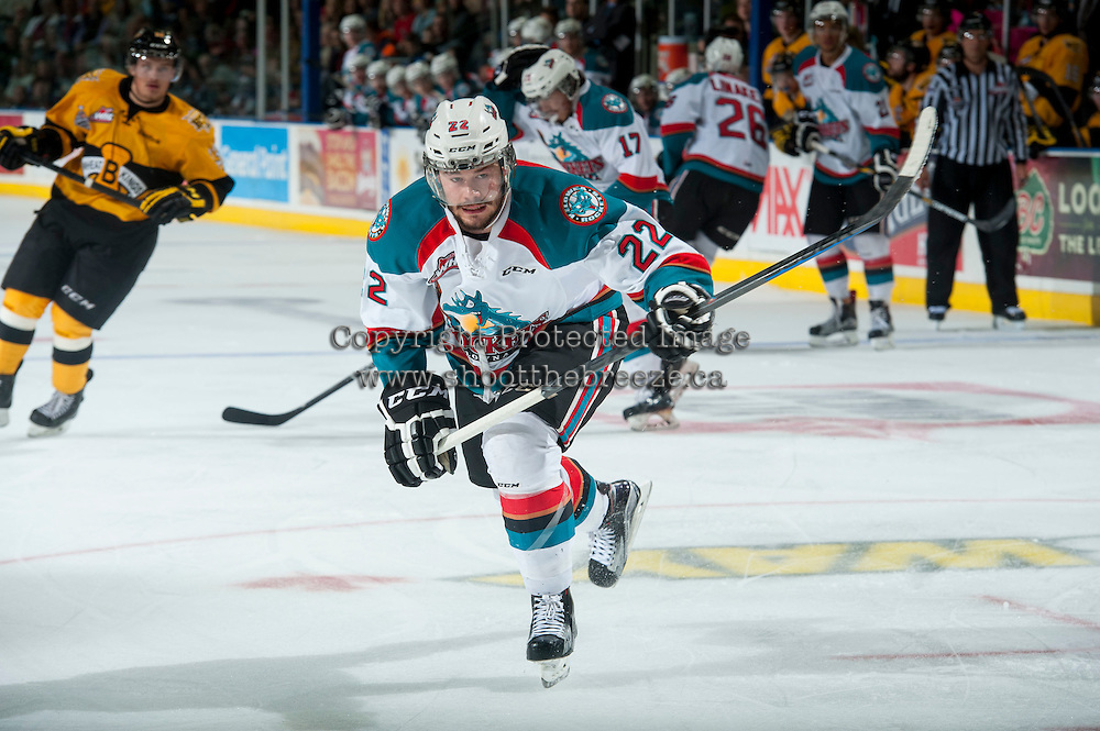 KELOWNA, CANADA - MAY 13: Chance Braid #22 of Kelowna Rockets skates against the Brandon Wheat Kings on May 13, 2015 during game 4 of the WHL final series at Prospera Place in Kelowna, British Columbia, Canada.  (Photo by Marissa Baecker/Shoot the Breeze)  *** Local Caption *** Chance Braid;