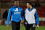 Bradford City's Dominic Poleon and Jordan Gibsonduring ahead of the EFL Sky Bet League 1 match between Doncaster Rovers and Bradford City at the Keepmoat Stadium, Doncaster, England on 19 March 2018. Picture by Aaron  Lupton.