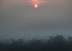© Licensed to London News Pictures. 22/01/2017. Dorking, UK. Sunrise at Dorking after another night of below freezing temperatures.  Photo credit: Peter Macdiarmid/LNP
