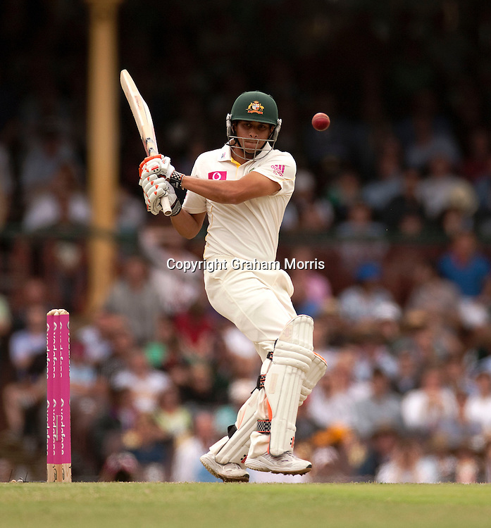 Usman Khawaja bats in his first Test, the fifth and final one between Australia and England at the SCG in Sydney, Australia. Photo: Graham Morris (Tel: +44(0)20 8969 4192 Email: sales@cricketpix.com) 03/01/11