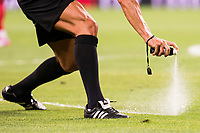 Referee using the Spray during the XXXVII Santiago Bernabeu Trophy in Madrid. August 16, Spain. 2016. (ALTERPHOTOS/BorjaB.Hojas)