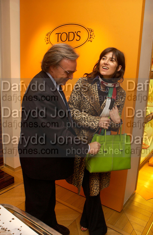 Diego della Valle and Bella Freud. Tod's hosts Book signing with Dante Ferretti celebrating the launch of 'Ferretti,- The art of production design' by Dante Ferretti. tod's, Old Bond St. 19 April 2005.  ONE TIME USE ONLY - DO NOT ARCHIVE  © Copyright Photograph by Dafydd Jones 66 Stockwell Park Rd. London SW9 0DA Tel 020 7733 0108 www.dafjones.com