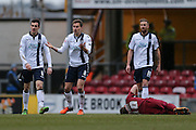 Millwall FC midfielder Edward Upson (8)  pleads his innocence  during the Sky Bet League 1 match between Bradford City and Millwall at the Coral Windows Stadium, Bradford, England on 26 March 2016. Photo by Simon Davies.