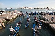 Venice, Italy, sept. 2009. Gondole at bacino San marco.