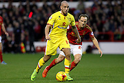 MK Dons midfielder Samir Carruthers heads for goal during the Sky Bet Championship match between Nottingham Forest and Milton Keynes Dons at the City Ground, Nottingham, England on 19 December 2015. Photo by Aaron Lupton.