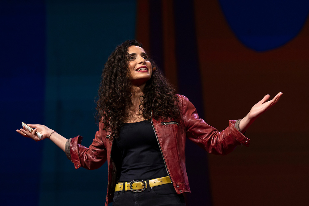 Ella Al-Shamahi speaks at TED2019: Bigger Than Us. April 15 - 19, 2019, Vancouver, BC, Canada. Photo: Bret Hartman / TED