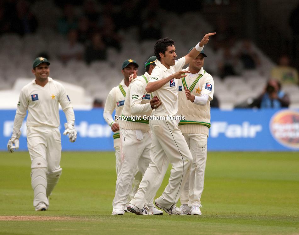 Umar Gul celebrates bowling Mitchell Johnson during the MCC Spirit of Cricket Test Match between Pakistan and Australia at Lord's.  Photo: Graham Morris (Tel: +44(0)20 8969 4192 Email: sales@cricketpix.com) 15/07/10