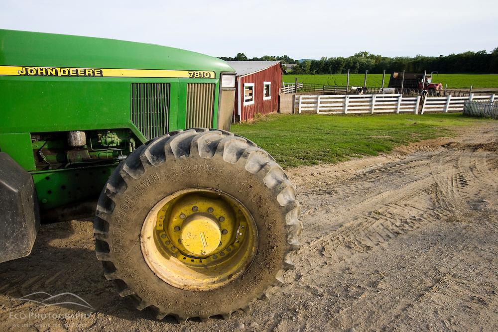 A tractor at Boggy Meadows Farm in Walpole, New Hampshire.
