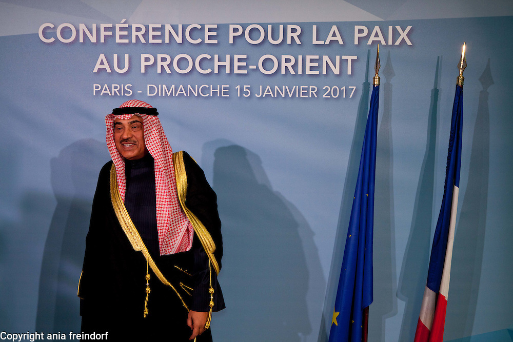 Middle East Peace Conference, Paris, France. International summit. 7O countries have participated in the summit. Kuwait Sabah Khalid Al Hamad Al Sabah, Minister of Foreign Affairs
